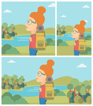 woman hiking: Young woman with backpack enjoying the view of landscape with mountains and lake. Vector flat design illustration. Square, horizontal, vertical layouts.
