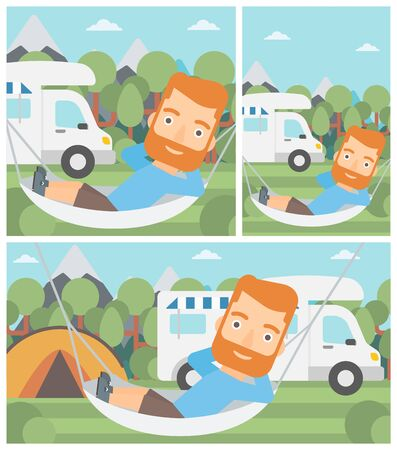 motor home: Hipster man with the beard lying in a hammock in front of motor home. Man resting in hammock and enjoying vacation in camper van. Vector flat design illustration. Square, horizontal, vertical layouts. Illustration