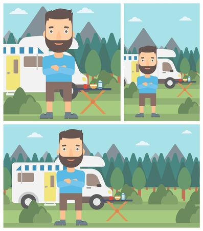 motor home: A hipster man with the beard standing in front of motor home. Young man with arms crossed enjoying vacation in camper van. Vector flat design illustration. Square, horizontal, vertical layouts. Illustration