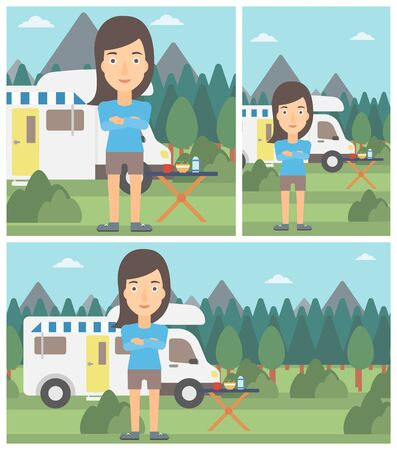 motor home: Woman standing in front of motor home. Woman with arms crossed enjoying vacation in camper van. Woman travelling by camper van. Vector flat design illustration. Square, horizontal, vertical layouts.