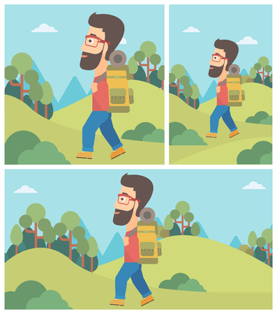 Hipster man with the beard hiking in mountains. Traveler with backpack mountaineering. Hiking man with backpack walking outdoor. Vector flat design illustration. Square, horizontal, vertical layouts.