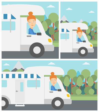 motor home: Young woman driving a motor home in the forest. Woman travelling by camper van. Vector flat design illustration. Square, horizontal, vertical layouts.