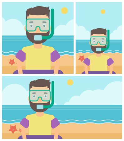 rubber tube: Man in mask, tube and rubber ring standing on the background of beach and sea. Man wearing snorkeling equipment on the beach. Vector flat design illustration. Square, horizontal, vertical layouts.
