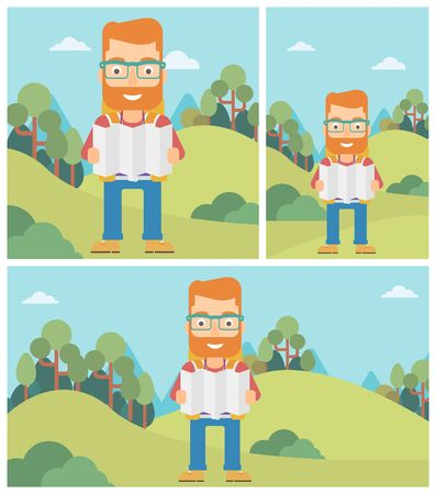 Traveler with backpack looking at map. Hipster man travelling in mountains. Traveler searching right direction on map. Vector flat design illustration. Square, horizontal, vertical layouts. Ilustrace