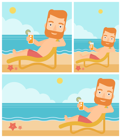 longue: Hipster man with the beard sitting in chaise longue and holding a cocktail in hand on the background of sand beach with blue sea. Vector flat design illustration. Square, horizontal, vertical layouts.
