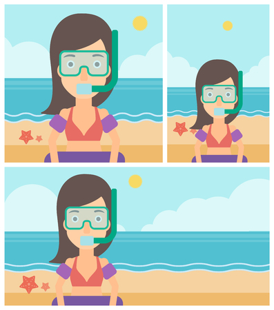 Woman in mask, tube and rubber ring standing on the background of beach and sea. Woman wearing snorkeling equipment on the beach. Vector flat design illustration. Square, horizontal, vertical layouts. Illustration