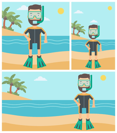 Man in diving suit, flippers, mask and tube standing on the beach. Male scuba diver on the beach. Young man enjoying snorkeling. Vector flat design illustration. Square, horizontal, vertical layouts.