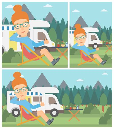 young woman sitting: Young woman sitting in folding chair and giving thumb up on the background of camper van. Woman enjoying vacation in camper van. Vector flat design illustration. Square, horizontal, vertical layouts. Illustration