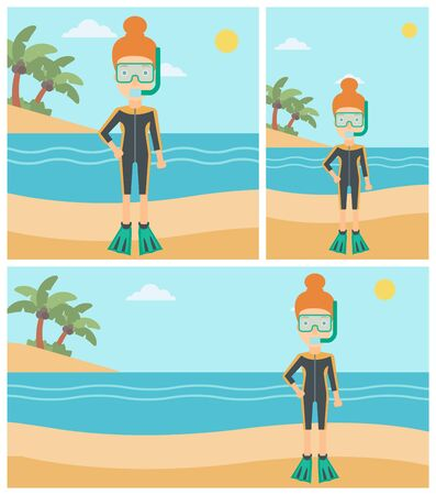 Woman in diving suit, flippers, mask and tube standing on the beach. Female scuba diver on the beach. Woman enjoying snorkeling. Vector flat design illustration. Square, horizontal, vertical layouts.