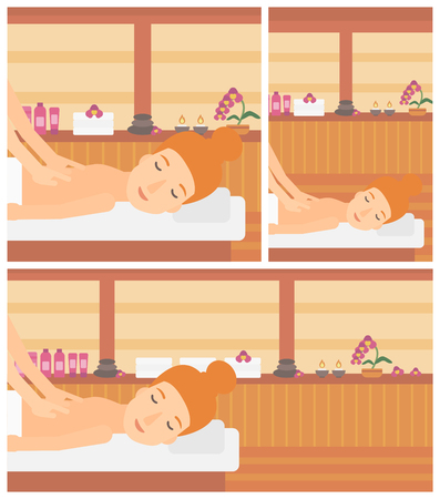 topless women: A woman getting a back massage on the background of spa center. Young woman having back massage in the spa salon. Vector flat design illustration. Square, horizontal, vertical layouts. Illustration