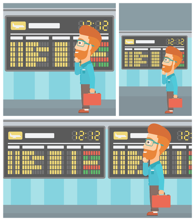 departure board: Man with a briefcase looking at departure board at the airport. Passenger standing at the airport in front of departure board. Vector flat design illustration. Square, horizontal, vertical layouts.