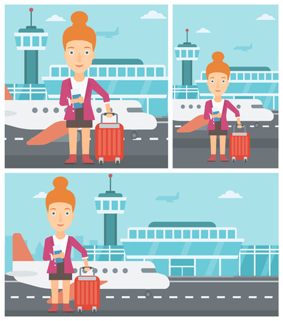 Young woman with suitcase holding a passport with ticket at the airport. Vector flat design illustration. Square, horizontal, vertical layouts.