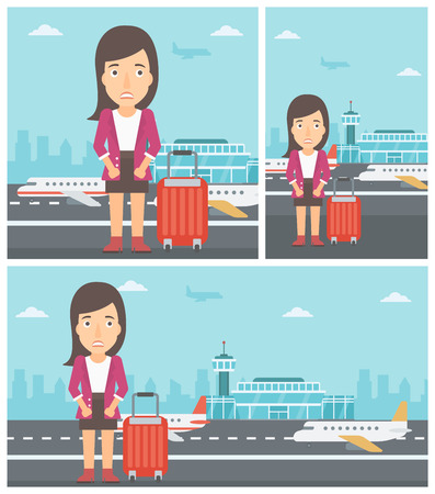 phobia: Woman frightened by future flight. Woman standing at airport and suffering from fear of flying. Phobia, fear of flying concept. Vector flat design illustration. Square, horizontal, vertical layouts.