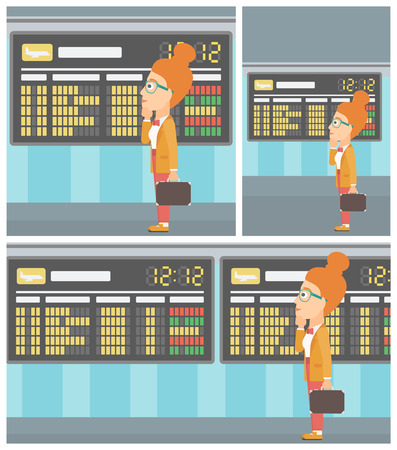 departure: Woman with briefcase looking at departure board at the airport. Passenger standing at the airport in front of departure board. Vector flat design illustration. Square, horizontal, vertical layouts.