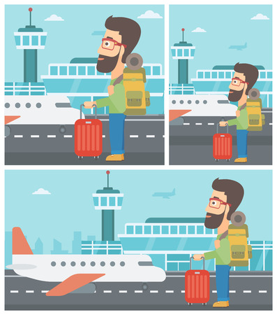 young man standing: Hipster man at the airport with backpack and a suitcase. Young man standing at the airport and looking at the flying airplane. Vector flat design illustration. Square, horizontal, vertical layouts.