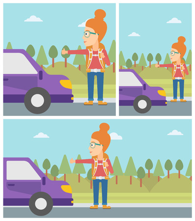 hitchhiking: Young woman with backpack hitchhiking on roadside. Hitchhiking woman trying to stop a car on the road. Vector flat design illustration. Square, horizontal, vertical layouts. Illustration