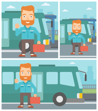 entrance door: A hipster man with the beard standing at the entrance door of a bus on a city background. Young man waving in front of a bus. Vector flat design illustration. Square, horizontal, vertical layouts.