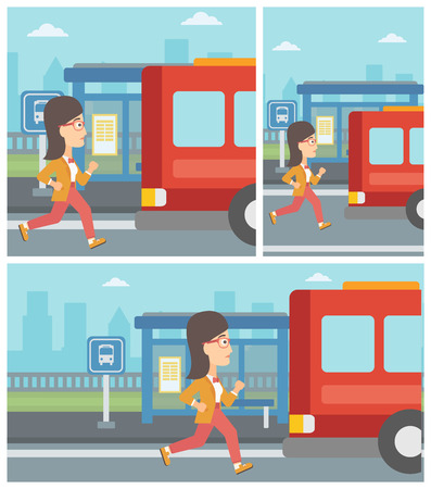 Latecomer woman running along the sidewalk to reach a bus. Young woman came too late at bus stop. Woman chasing a bus. Vector flat design illustration. Square, horizontal, vertical layouts.