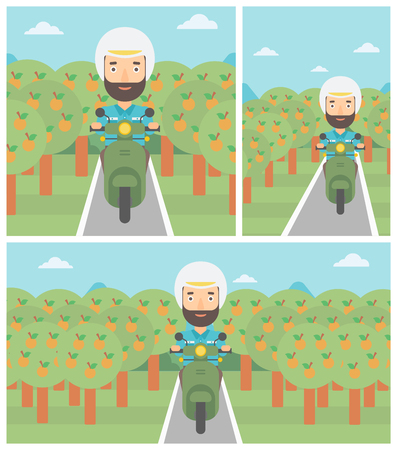 orchard: A hipster man with the beard riding a scooter on the asphalt road through the orchard. Young man in helmet driving a scooter. Vector flat design illustration. Square, horizontal, vertical layouts..