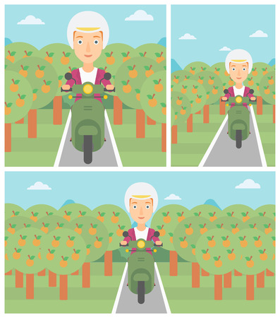 orchard: Woman riding a scooter on the asphalt road through the orchard. Young woman in helmet driving a scooter. Vector flat design illustration. Square, horizontal, vertical layouts.