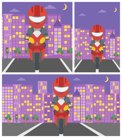city man: Young man in helmet riding a motorcycle on the background of night city. Man driving a motorbike on a city road. Vector flat design illustration. Square, horizontal, vertical layouts.