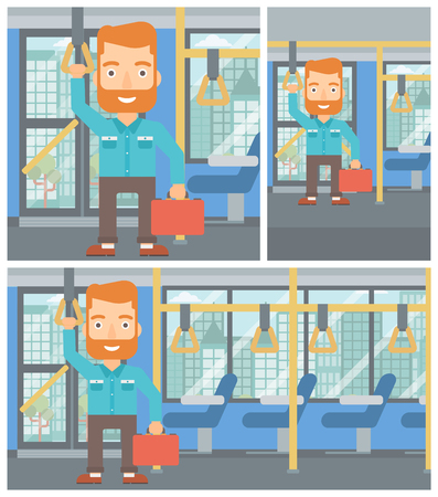 Young hipster man with the beard traveling by public transport. Man traveling by passenger bus or subway. Vector flat design illustration. Square, horizontal, vertical layouts. Vettoriali