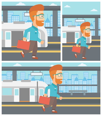 A hipster man with the beard walking on the train platform on the background of train with open doors. Vector flat design illustration. Square, horizontal, vertical layouts.