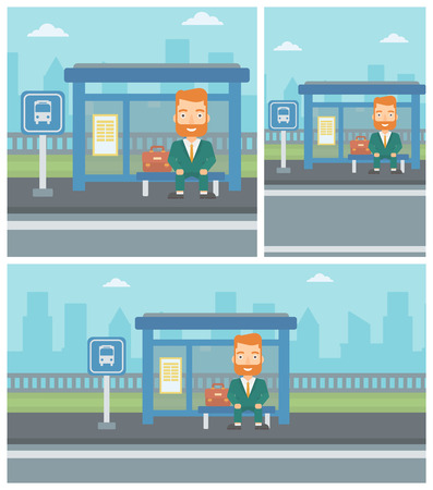bus stop: A hipster man with the beard waiting for a bus at a bus stop on a city background. Young man sitting at the bus stop. Vector flat design illustration. Square, horizontal, vertical layouts.