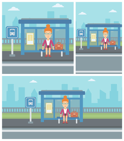 young woman sitting: Woman with briefcase waiting for a bus at a bus stop on a city background. Young woman sitting at bus stop at the city street. Vector flat design illustration. Square, horizontal, vertical layouts.