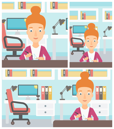 3 dimensional: Young woman making a model with a 3D pen. Woman drawing geometric shape by 3d pen. Engineer working with a 3 dimensional pen. Vector flat design illustration. Square, horizontal, vertical layouts. Illustration