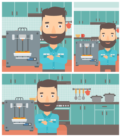 Hipster man working with three D printer making pizza on background of kitchen. Man with crossed arms standing near 3D printer. Vector flat design illustration. Square, horizontal, vertical layouts.