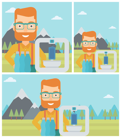 Man standing near 3D printer on the background of mountains. Three D printer making a smartphone using recycled plastic bottles. Vector flat design illustration. Square, horizontal, vertical layouts.