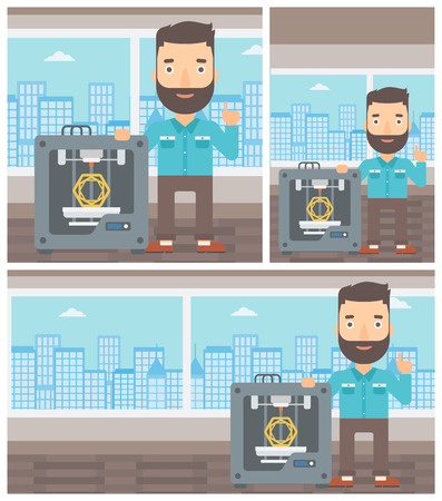 3d printer: Hipster man standing near three D printer and pointing forefinger up. Engineer using 3D printer. Man working with 3D printer. Vector flat design illustration. Square, horizontal, vertical layouts.