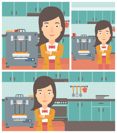 Woman working with three D printer making pizza on the background of kitchen. Woman with crossed arms standing near 3D printer. Vector flat design illustration. Square, horizontal, vertical layouts.