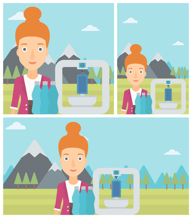 plastic bottles: Woman standing near three D printer on the background of mountains. 3D printer making a smartphone using recycled plastic bottles. Vector flat design illustration. Square, horizontal, vertical layouts