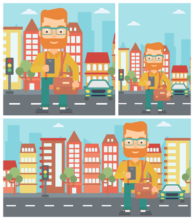 using smartphone: Hipster man with the beard using a smartphone. Businessman with briefcase working with smartphone on a city background. Vector flat design illustration. Square, horizontal, vertical layouts.