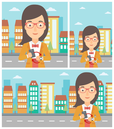 smart phone woman: Young woman holding a smartphone looking at her smart watch. Synchronization between smartwatch and smartphone. Vector flat design illustration. Square, horizontal, vertical layouts.