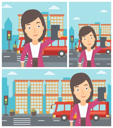 woman cellphone: Woman making selfie. Woman taking photo with cellphone. Woman looking at smartphone and taking selfie on the background of city. Vector flat design illustration. Square, horizontal, vertical layouts.