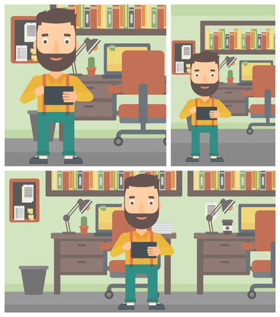 using tablet: Hipster man with the beard using a tablet computer. Businessman working with a digital tablet on the background of office. Vector flat design illustration. Square, horizontal, vertical layouts. Illustration