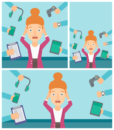 despair: Woman in despair and many hands with gadgets around her. Woman surrounded with gadgets. Woman using many electronic gadgets. Vector flat design illustration. Square, horizontal, vertical layouts.