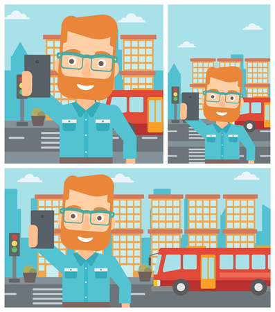 Hipster man making selfie. Man taking photo with cellphone. Man looking at smartphone and taking selfie on a background of city. Vector flat design illustration. Square, horizontal, vertical layouts.