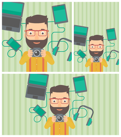 taking photo: Hipster man with the beard taking photo with digital camera. Man surrounded with gadgets. Man using many electronic gadgets. Vector flat design illustration. Square, horizontal, vertical layouts.