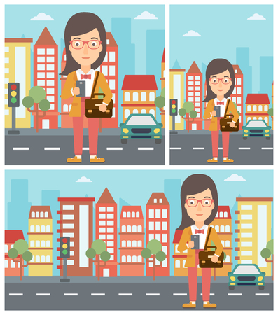using smartphone: Young woman using a smartphone. Business woman with briefcase working with smartphone on a city background. Vector flat design illustration. Square, horizontal, vertical layouts. Illustration
