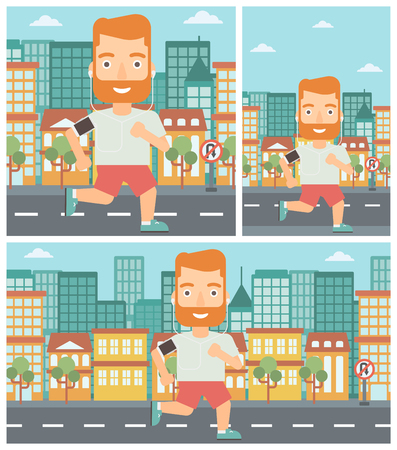 armband: Man running with earphones and armband for smartphone. Man listening to music during running. Man running on a city background. Vector flat design illustration. Square, horizontal, vertical layouts. Illustration