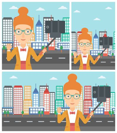 woman cellphone: Smiling woman making selfie with a selfie-stick. Young woman taking photo with cellphone and waving on a city background. Vector flat design illustration. Square, horizontal, vertical layouts. Illustration