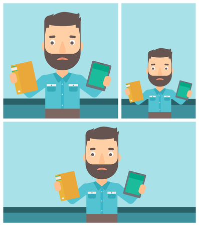 man holding book: Confused man choosing between a tablet computer and a paper book. Man holding book in one hand and tablet computer in the other. Vector flat design illustration. Square, horizontal, vertical layouts. Illustration