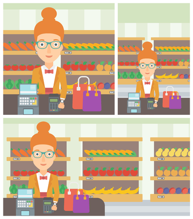 smart woman: Woman paying wireless with her smart watch at the supermarket. Female customer making payment for purchase with smart watch. Vector flat design illustration. Square, horizontal, vertical layouts.