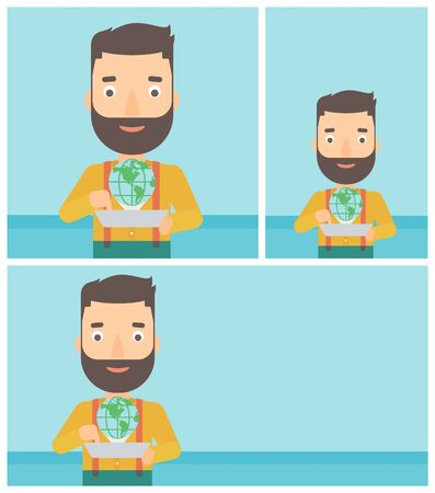 computer model: Hipster man holding tablet computer with model of planet earth above the device. International technology communication concept. Vector flat design illustration. Square, horizontal, vertical layouts.