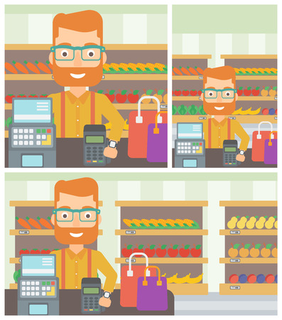 smart man: Hipster man paying wireless with his smart watch at the supermarket. Male customer making payment for purchase with smart watch. Vector flat design illustration. Square, horizontal, vertical layouts.