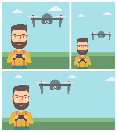 vector control illustration: A hipster man with the beard flying drone with remote control. Man operating a drone with remote control. Man controling a drone. Vector flat design illustration. Square, horizontal, vertical layouts.